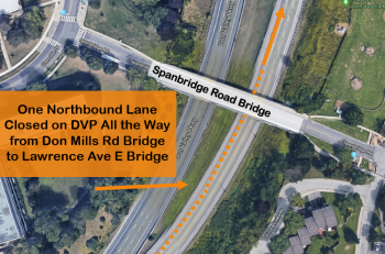 Map showing traffic impact of Stage 1 DVP bridge rehabilitation at Spanbridge Road Bridge. One lane of northbound traffic will be fully closed all the way from Don Mills Road Bridge to Lawrence Avenue East Bridge.