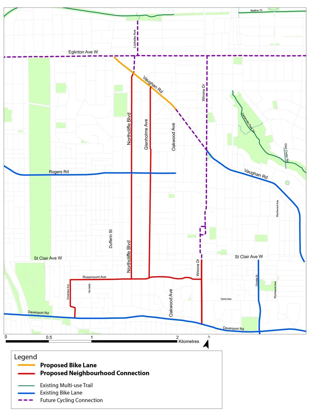 Map of Cycling Network Area, showing proposed bike lanes on Vaughan Rd, proposed bike lanes on Northcliffe Boulevard or Glenholme Avenue, proposed bike lanes on Rosemount Avenue, proposed shared lanes on Greenlaw Avenue and Winona Drive, existing bike lanes on Vaughan Road and Rogers Road, and future cycling connections on Eglinton Avenue West and Winona Drive.