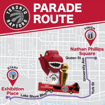 map showing the parade route. Starting at exhibition place, east along Lake Shore Blvd., north on York and University Ave, ending in Nathan Phillips Square.