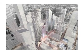 Aerial rendering of 2 Bloor Street West Study (1st Review)