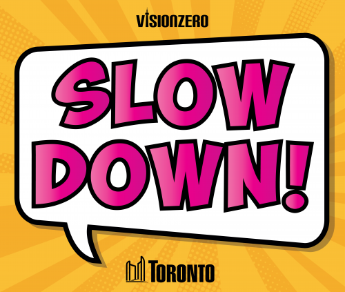 Comic Style Lawn Sign with bright yellow and pink text reading SLOW DOWN