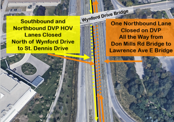 Map showing traffic impact of Stage 1 DVP bridge rehabilitation at Wynford Drive Bridge. One lane of northbound traffic will be fully closed all the way from Don Mills Road Bridge to Lawrence Avenue East Bridge. The southbound and northbound HOV lanes on the DVP closed from north of Wynford Drive to St. Dennis Drive.