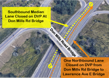 Map showing traffic impact of Stage 1 DVP bridge rehabilitation at Don Mills Road Bridge. One lane of northbound traffic will be fully closed from Don Mills Road Bridge to Lawrence Avenue East Bridge, and the southbound median lane will be closed at Don Mills Road Bridge.