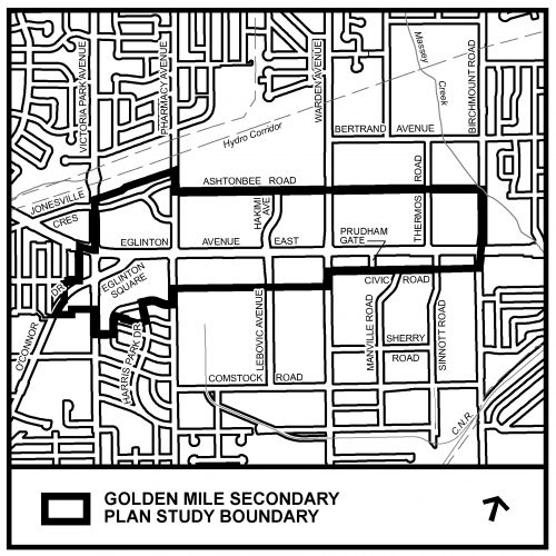 Map showing boundaries of the Golden Mile Secondary Plan Study area