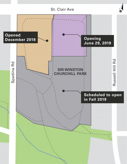 Map of Sir Winston Churchill Park showing northwest section (near Spadina Road and St. Clair Avenue West) that opened in December 2018, northeast section (near St. Clair Avenue West and Russell Hill Road) that is opening June 29, 2019 and remainder of park scheduled to open in fall 2019.