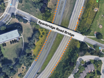 Map showing updated traffic impact of DVP bridge rehabilitation at Spanbridge Road Bridge. Crews completed stage 1 work ahead of schedule and all lanes have now reopened. Traffic staging is now set up on the shoulders in preparation for Stage 2 construction.