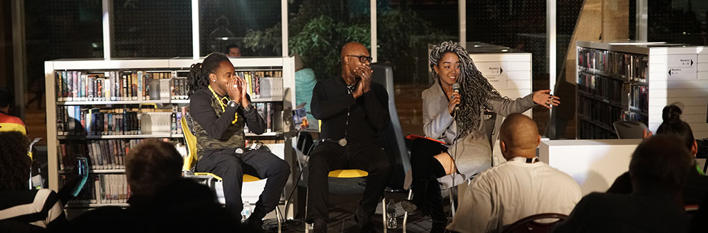 Panel of four panelists at a Nuit Talks event at the Scarborough Civic Centre Library during Nuit Blanche Toronto.