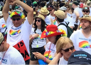Residents take part in the city's annual Pride Parade.