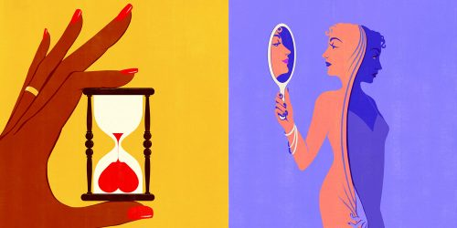illustrations. Left: hand holding an hourglass with heart inside. Right: dual face, two female forms, holding hand mirror.