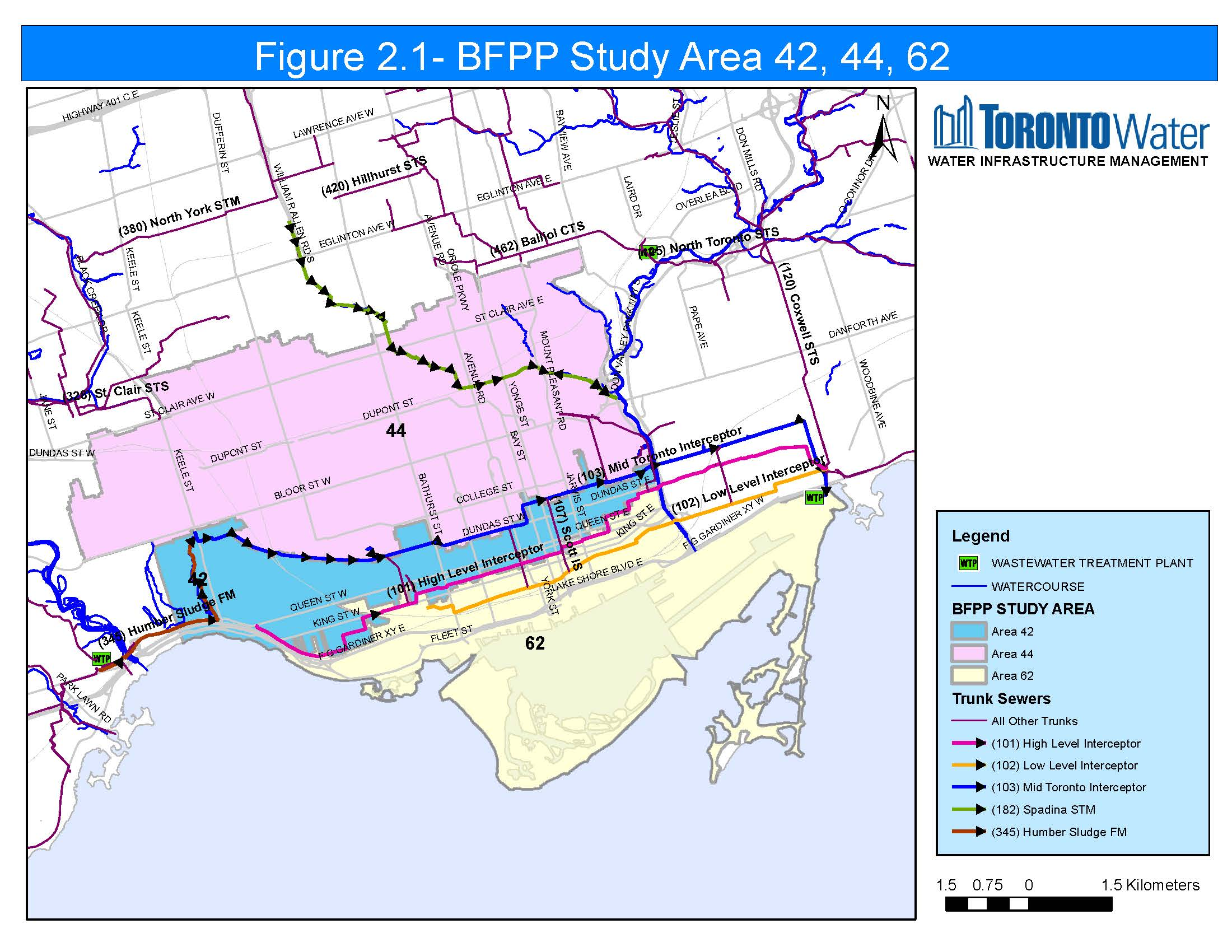 Map of Basement Flooding Areas 42, 44 and 62 and locations of storm sewer interceptors in the study area. If you need help reading this map, contact the Public Consultation Unit at floodingstudy@toronto.ca or 416-392-8210.