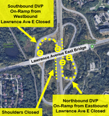 Map detailing traffic restrictions at Lawrence Avenue East and the DVP. Restrictions will close the shoulders of the DVP at Lawrence Avenue East and close the northbound DVP on-ramp from eastbound Lawrence Avenue East, and close the southbound DVP on-ramp from westbound Lawrence Avenue East