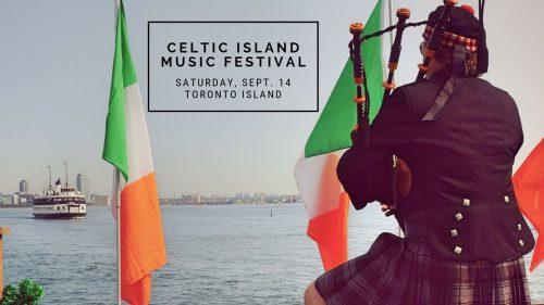 bagpiper, Toronto Island Ferry, Lake Ontario., Irish flags.