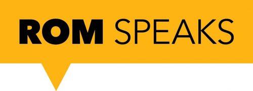 ROM speaks logos - yellow word bubble, black font