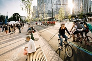 Busy street in Toronto highlighting different transportation options, pedestrians, cycling and streetcars