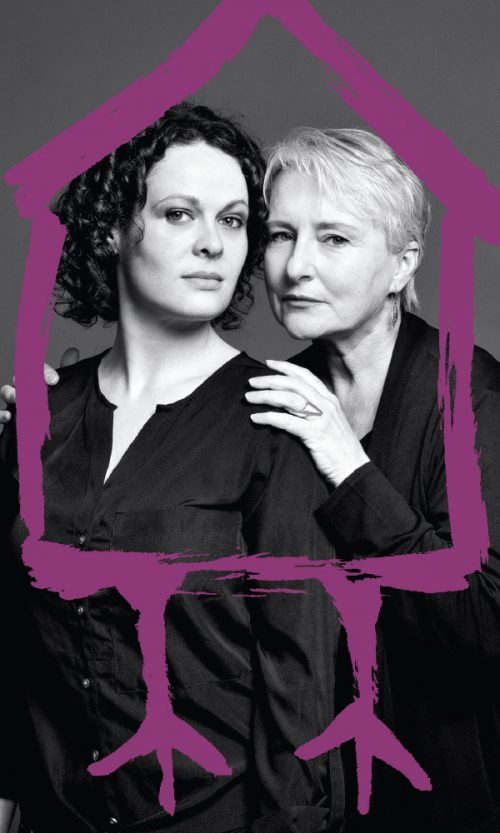 two women, standing side by side, one woman holding others' shoulder. Surrounded by purple paint lines, mimicking a house, with bird feet.
