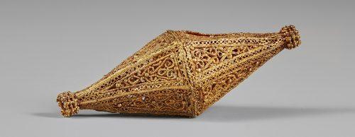 gold multi-sided vessel, ornate.