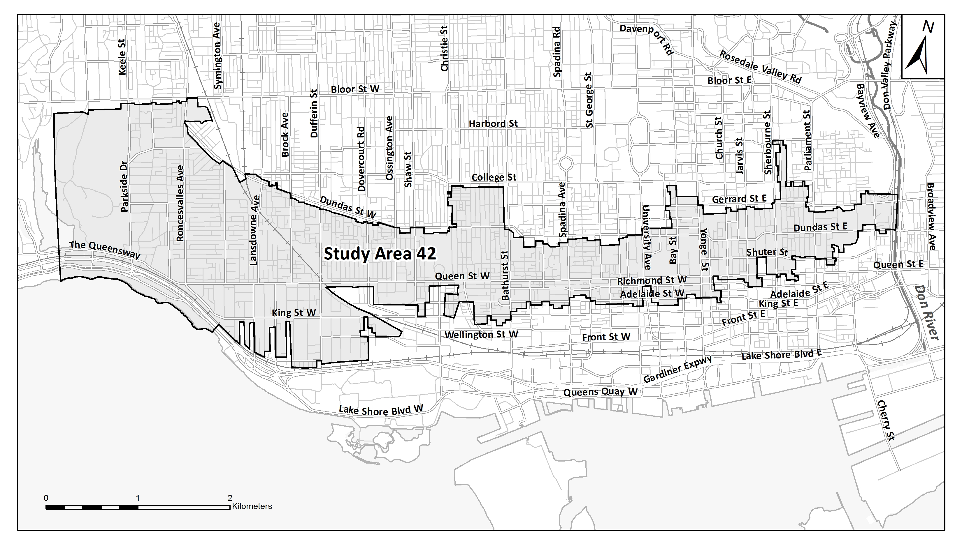 Map of Basement Flooding Study Area 42. If you need help reading this map, contact the Public Consultation Unit at floodingstudy@toronto.ca or 416-392-8210.