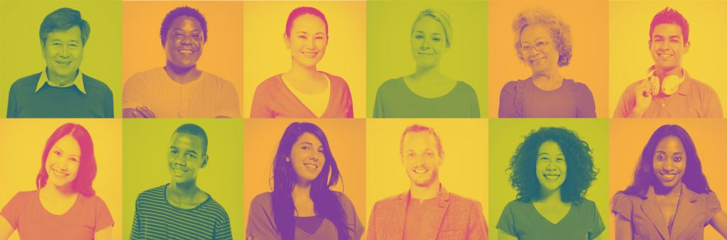 Image: A series of colourful portraits of diverse smiling people.