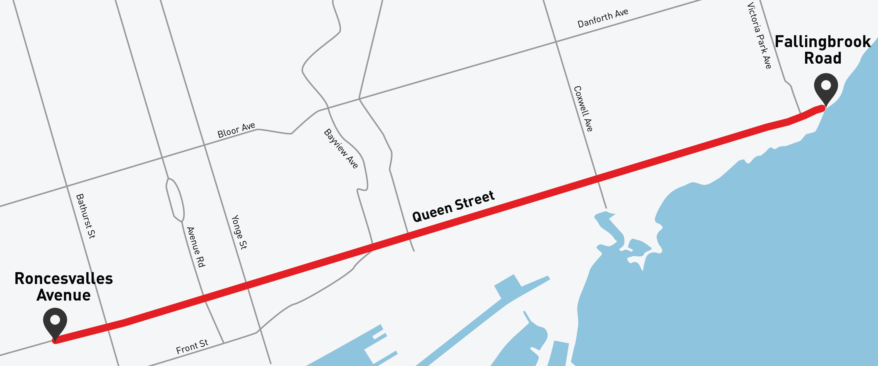 Map showing the towing pilot area which is on Queen Street from Roncesvalles Avenue to Fallingbrook Road.