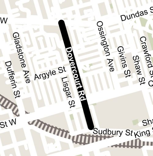 map showing Dovercourt Road from Dundas Street West to Sudbury Street