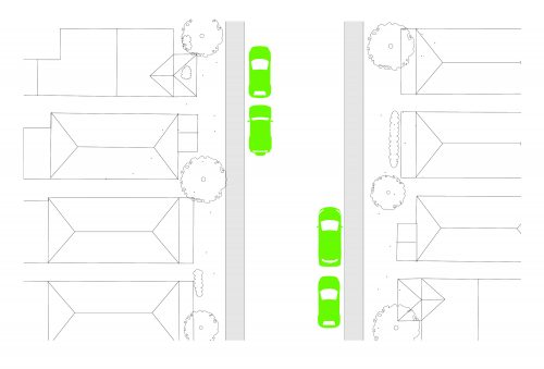 diagram of on-street parking alternating by mid block