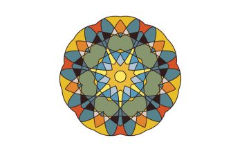 A digital illustration of a yellow, blue and green mandala white a white background.