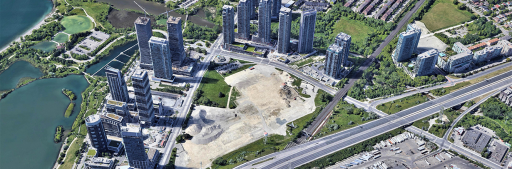 Aerial view of the Christie site bounded by the Gardiner Expressway to the north; Lake Shore Boulevard West to the east and southeast; and, Park Lawn Road to the west and southwest.