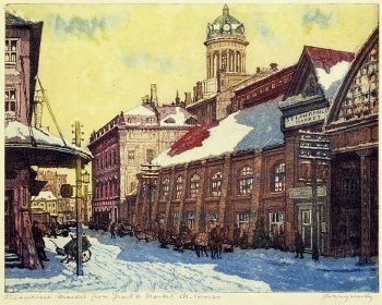 A colour painting of St. Lawrence Market in Toronto, by artist Nicholas Hornyansky