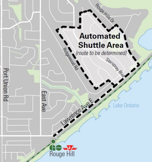 West Rouge neighbourhood, between Ridgewood Road and Rouge Hills Drive, next to Rouge Park, off lawrence Avenue East. Connecting Rouge Hill GO station. Route to be determined.