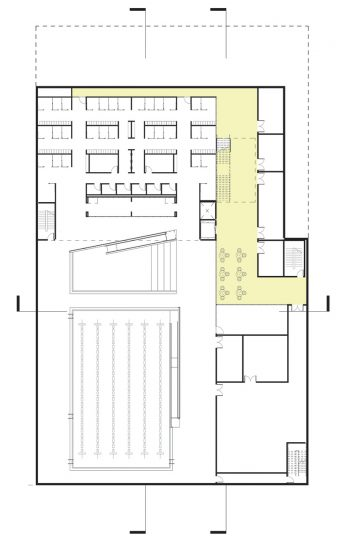 The floor plan of level 1's lower section.