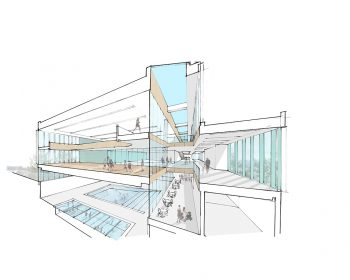 A cross-section rendering of the North East Scarborough Community Centre