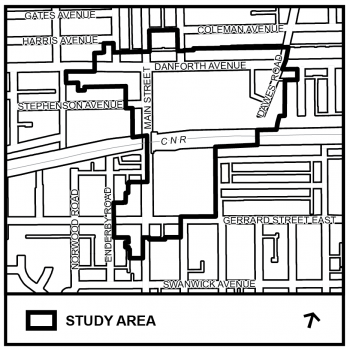 Map of Main Street Planning Study Area highlighting Main Street, between Danforth Avenue and Gerrard Street East