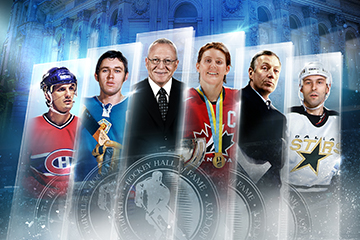 Images of Hockey Hall of Fame 2019 inductees in a line, blue background - Guy Carbonneau, Vaclav Nedomansky, Hayley Wickenheiser and Sergei Zubov