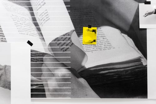 Image info: Grayson James, A Damaged Book/Learning How To Bind (detail), 2018, architecture prints, found objects, tracing paper, laser prints, inkjet prints. Courtesy of the artist. black and white image - hand holding pages of book, yellow square in centre, image surrounded by lines and photographs.
