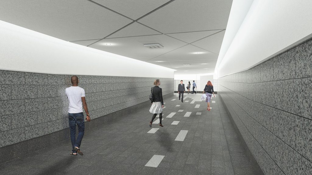 Artist rendering shows people walking through the future York St. expansion of the PATH
