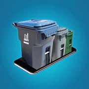 Recycling bin, garbage bin and organics bin coming out of a phone.
