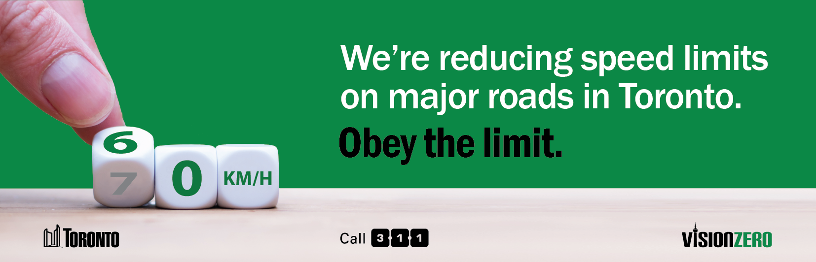 We're reducing speed limits on major roads in Toronto. Obey the limit.