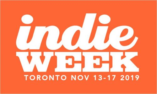 Indie Week Toronto wordmark. Whtie text, orange background.