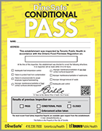 DineSafe Conditional Pass Notice
