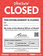 DineSafe Closed Notice