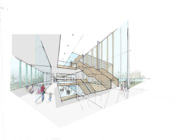 A rendering of the interior of the North East Scarborough Community Centre from another angle