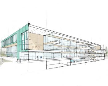 A longitudinal cross-section rendering of the North East Scarborough Community Centre and Child Care Centre.