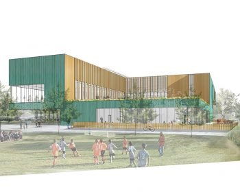 A rendering of the exterior of the building viewed from the north-west corner