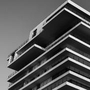 Black and white photo of a condo building in Toronto.