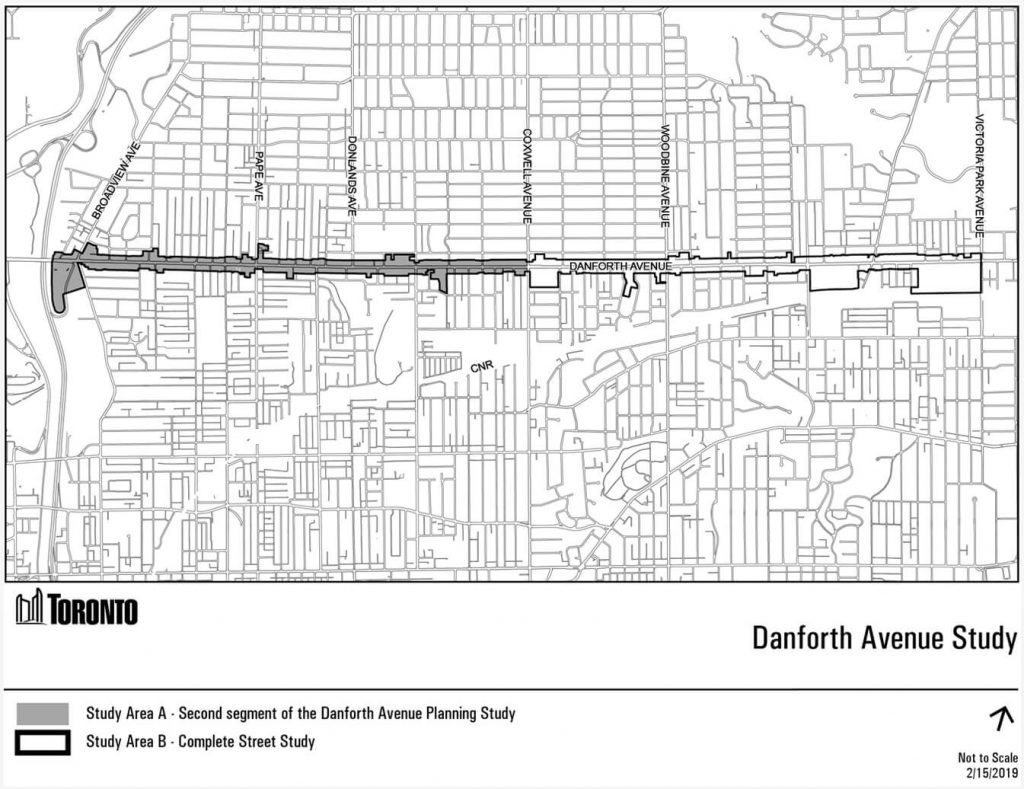 Map showing the Danforth Avenue Planning and Complete Street study area, between Broadview Avenue and Victoria Park Avenue