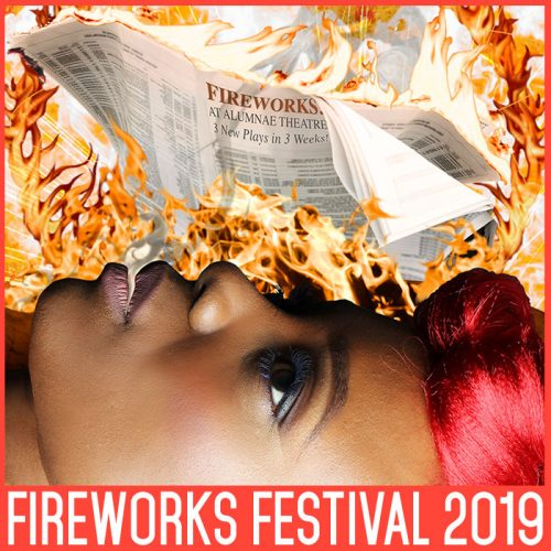 Fireworks festival 2019 event artwork - close up of woman face with flames arising to surround a newspaper
