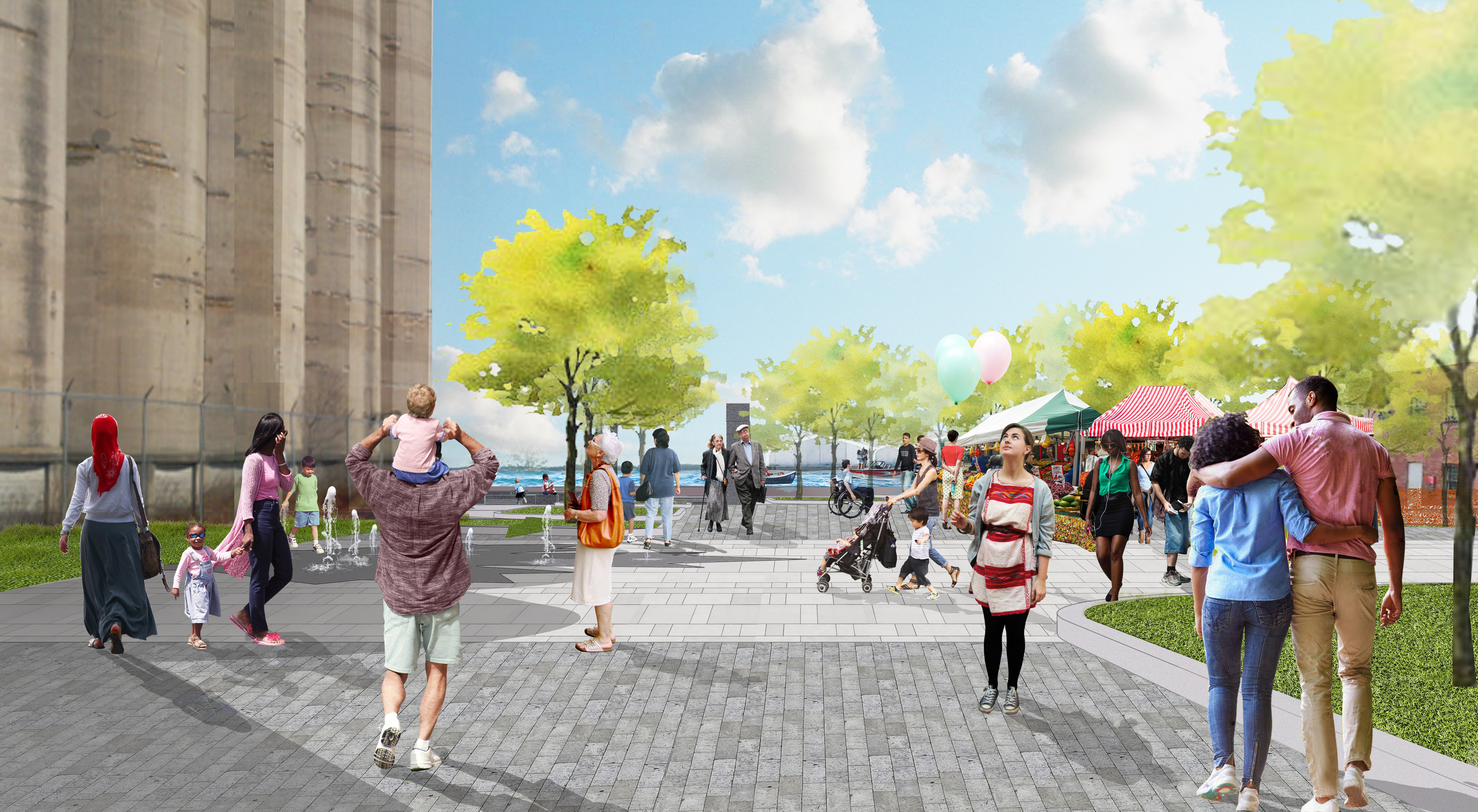 Artist's rendering from inside a planned public plaza space on the Canada Malting property, which is currently a derelict site on Toronto's waterfront. The image identifies people of all ages and abilities enjoying public space on the Toronto waterfront.