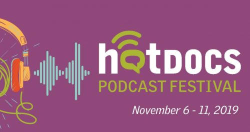 Hot Docs Podcast Festival artwork. Light purple background, green and white wordmark, illustration of headphones and sound waves.