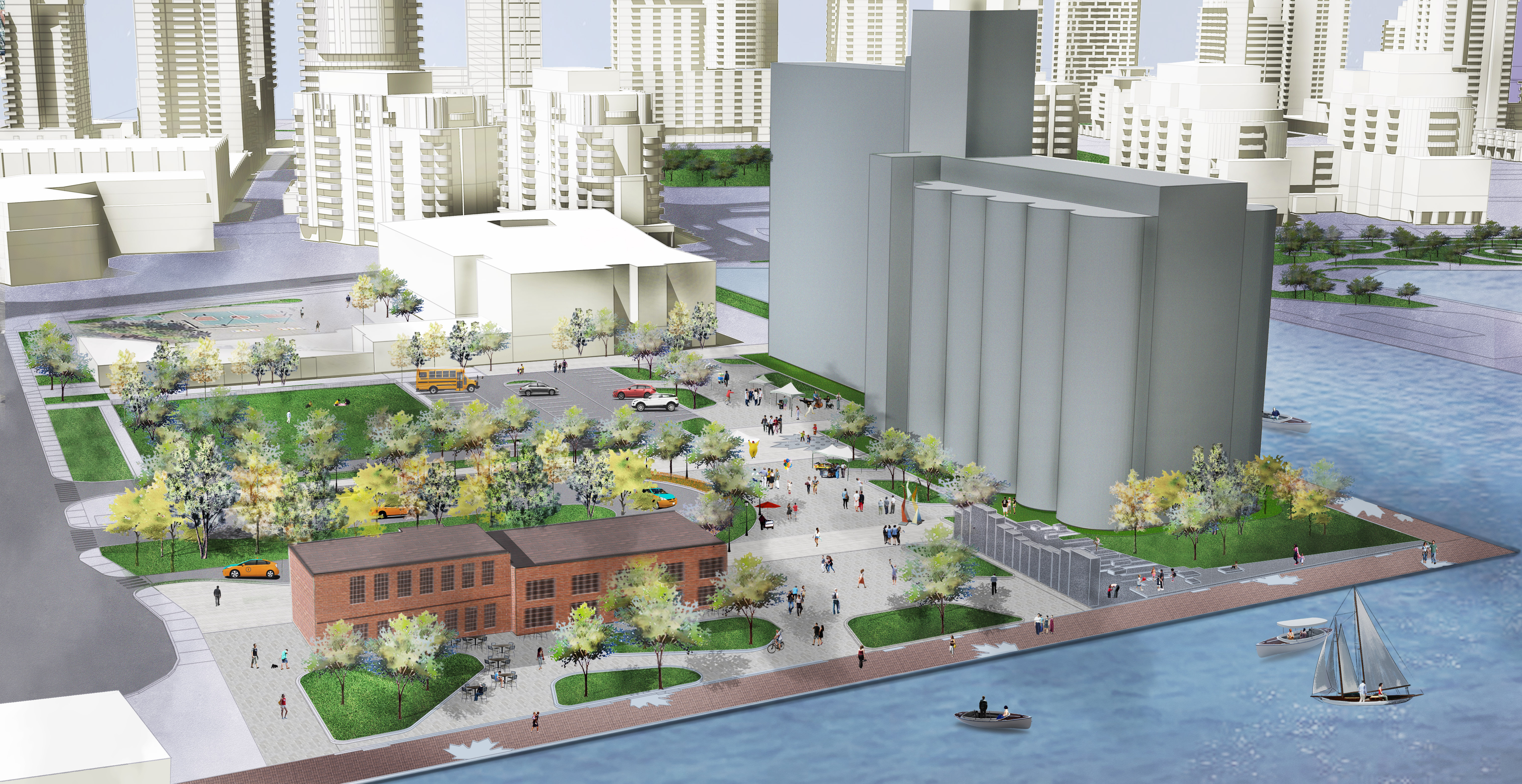 Artist's rendering depicts a bird's eye view of planned improvements to the Canada Malting property, which is currently a derelict site on Toronto's waterfront. The image includes restored historic buildings, a new public promenade along the water's edge, and people enjoying a new plaza space.