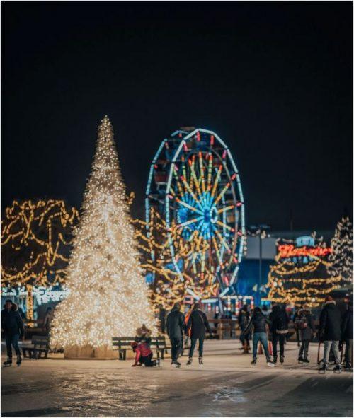 Night sky, Lighted tree, ferris wheel, People skating.